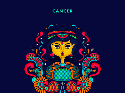 Cancer, zodiac illustrations