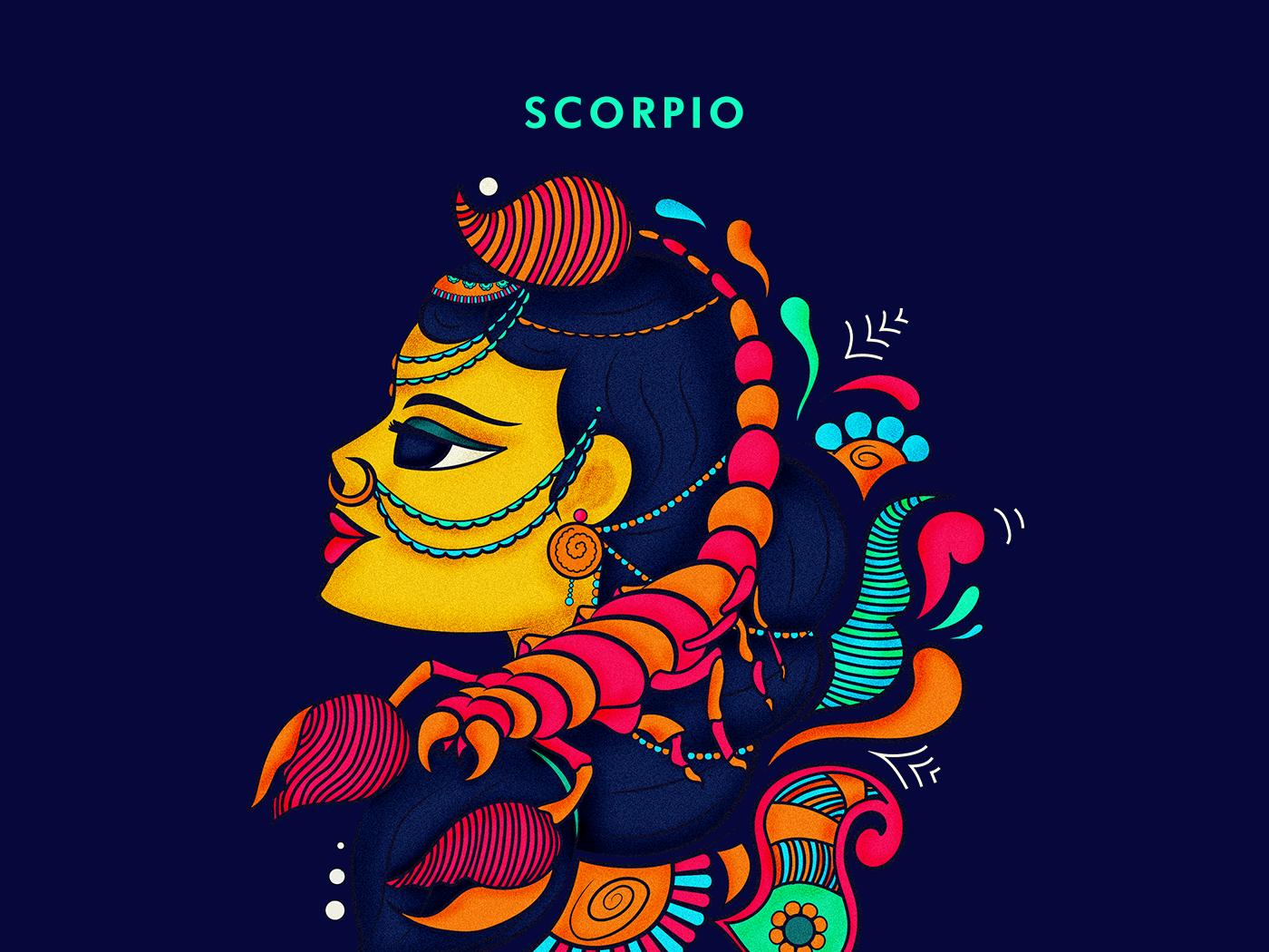 Scorpio desi vector zodiac stickers sticker illustration