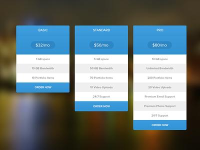Pricing Table (Free PSD) free psd ui pricing table kit web design