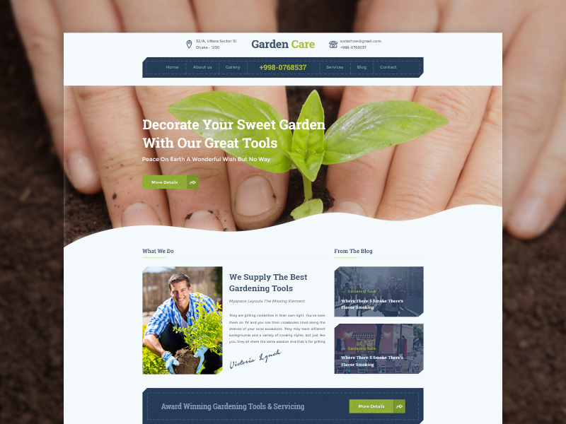 Homepage Design - Garden Care Gardening Website By Masum Rana