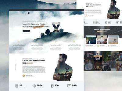 Space X clean ui modern website design ux design wordpress theme design themeforest design website design