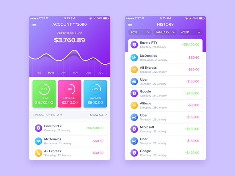 Finance App app design finance app gradient finance mobile app