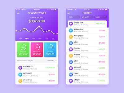 Finance App app design finance app gradient finance mobile app