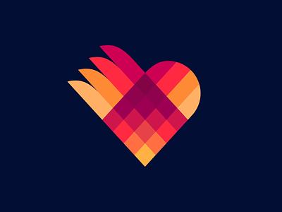 Love origami lovely flat origami love branding design logo icon logo design