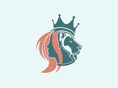 Kings and Goddesses branding flat vector lion head kingdom lions lion logo queen kings logo design logo design icon