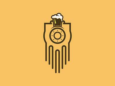 Beer train logo branding brewery logo train beer flat vector logo logo design design icon