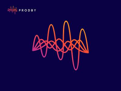 Prodby logo  (music industry) audio music music player music app vector branding flat logo design logo icon design