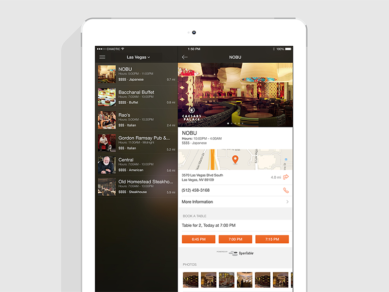 Caesars totalrewards ipad restaurants d