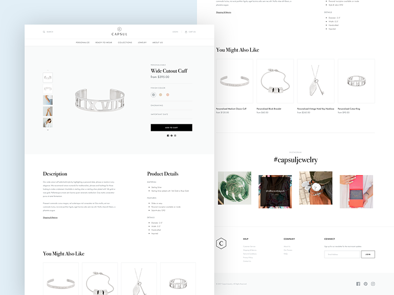 Capsul Product Page responsive website web ecommerce store shop layout type jewelry photography accpl