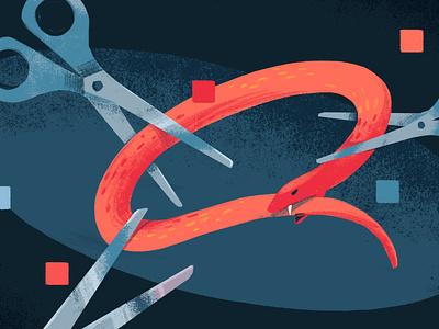 For an article about internet decentralisation editorial illustration illustration scissors web snake