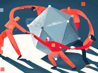 Internet decentralisation #3 teamwork people geometic web adobe photoshop editorial illustration illustration