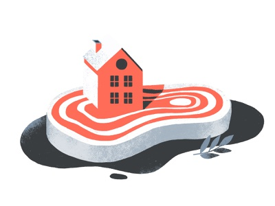 White stripes wacom food meat house home editorial illustration illustration