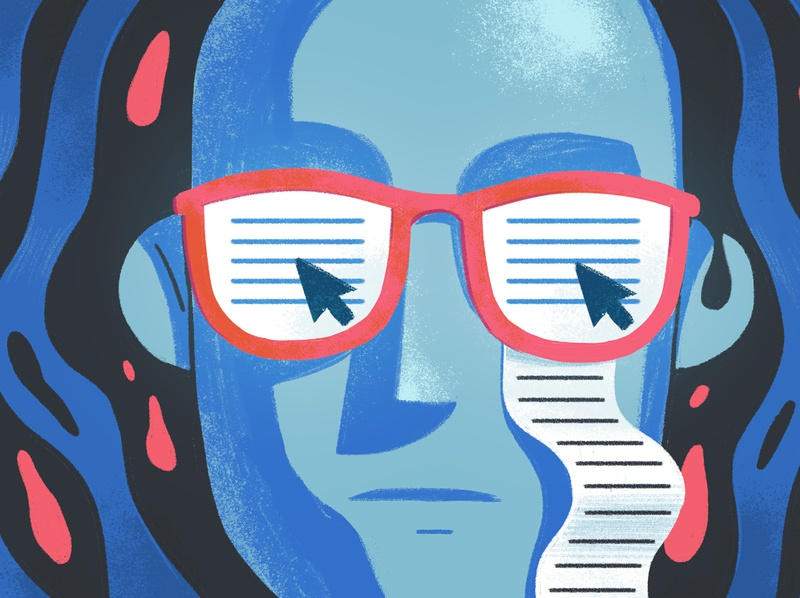 I can't read this anymore character grungy adobe photoshop editorial illustration illustration glasses reading