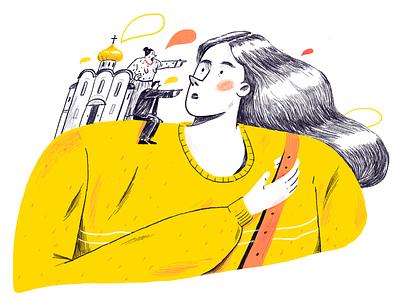 Paternalism woman economics character adobe photoshop illustration editorial illustration