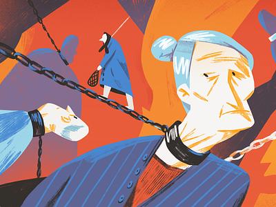 Violence against elderly people editorial elderly adobe photoshop editorial illustration illustration