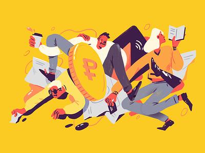 Struggle for money money digital art character editorial editorial illustration illustration