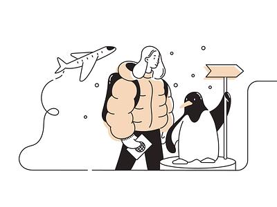 Corporate e-mail illustration character girl penguin travel plane illustration web email
