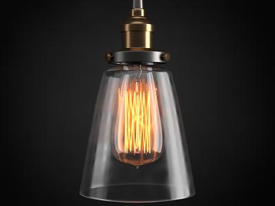 Practice photorealism glass brass bulb edison pendant 3d c4d