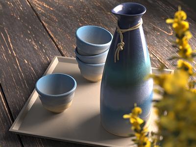 Sake dof ceramic sake photorealism 3d c4d