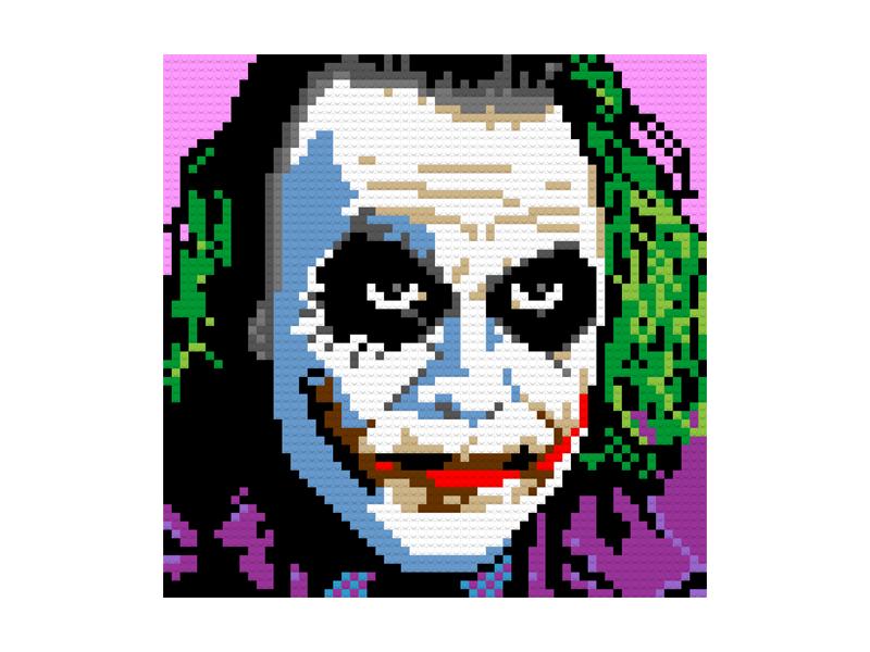 Joker LEGO Portrait super hero comic con comic books memorabilia face villains batman joker portraits comics bricks lego