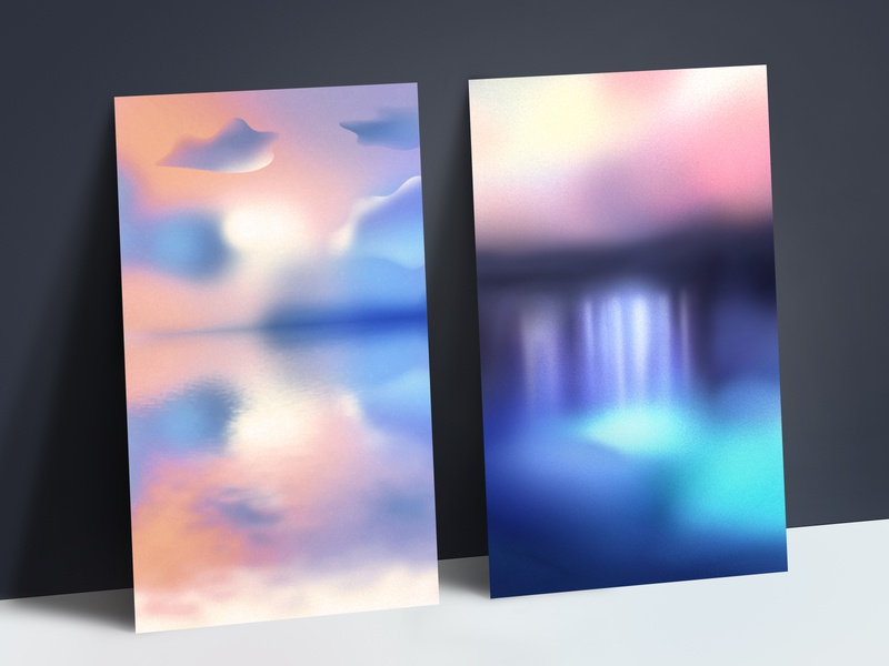 Apollo – Custom Illustration Backgrounds mockup ui mobile app sunset clouds ocean waterfall water apollo marketing design psychology abstraction illustration background branding poster design 2 posters poster