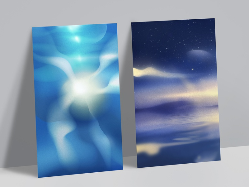 Apollo – Custom Illustration Backgrounds abstract stars sleep night ocean poster design app typography mockup mobile background ux marketing ui branding illustration design 2 posters