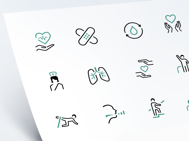 Symphony Network – Icons patch insult hope recovery lungs heart nurses medicine branding web logo ux ui icon marketing vector illustration design