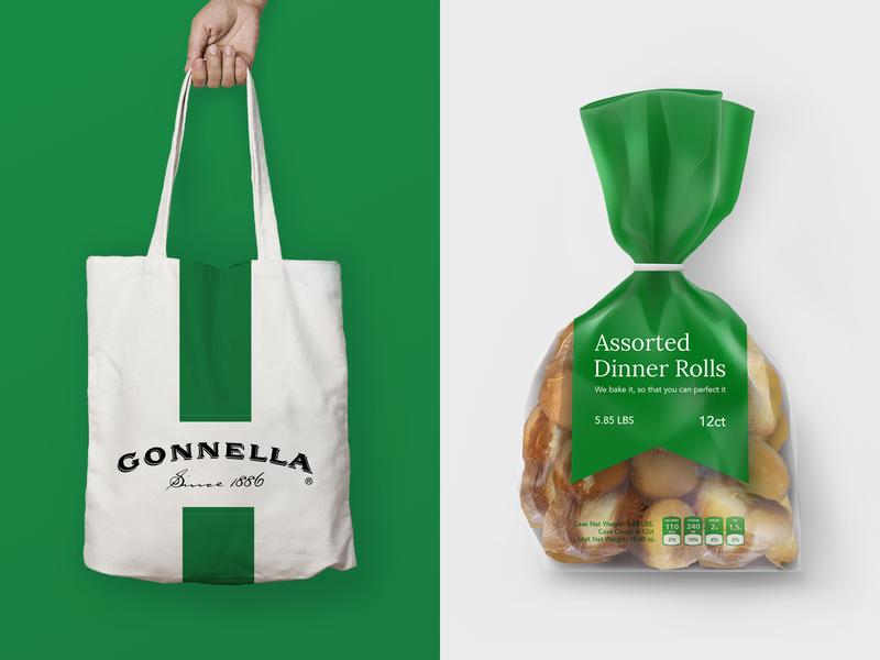 Gonnella – Branding Application bread baking collage rolls dinner illustration chicago marketing logo branding design