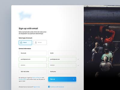 Sign up page form signup application app design ux ui