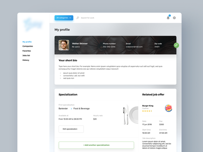 Profile page profile page profile app application design ux ui