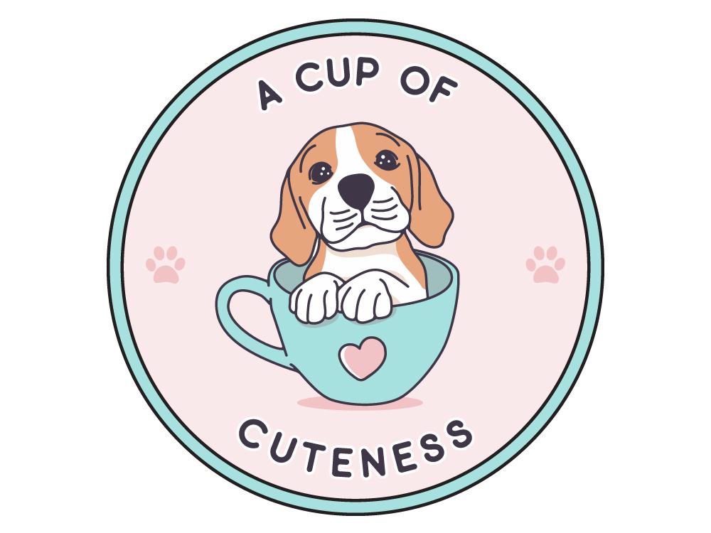A Cup Of Cuteness cute dog icon feminime animal dog lovers line art art dog monoline classic branding badge nature tee design design vintage badge sticker logo illustration vector