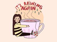 Rainy day and boy Tears