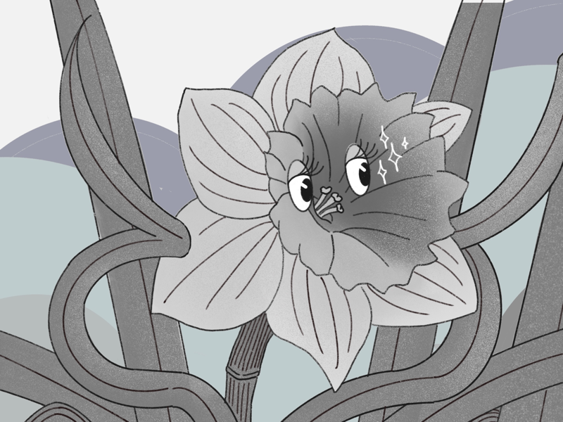 Flowers of Mickey'S garden-1 flower blackandwhite 1920 eyes drawing digital illustration