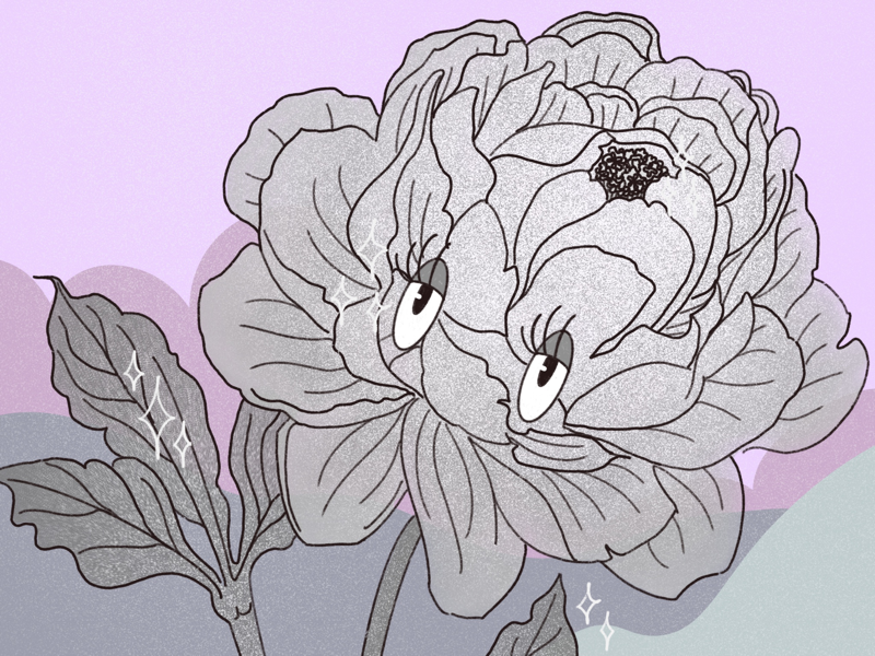 Flowers of Mickey's garden-3 mickey mouse black and white 1920 flower illustration drawing digital eyes