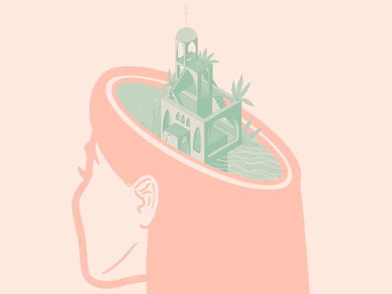 I hate Dribbble's crops monument valley monument plants neck water surreal sea head building digital