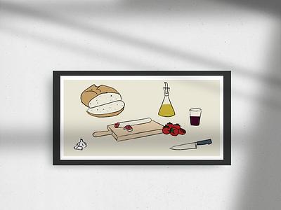 Un pà amb tomàquet 🍅🍷 designer food icons illustrations illustration art illustration design catalanfood bread fuet tomatote garlic all oli food mediterranean catalunya tomaquet pa illustration vermut sopar