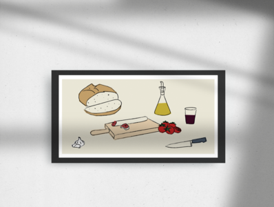 Un pà amb tomàquet 🍅🍷 designer food icons illustrations illustration art illustration design catalanfood bread fuet tomatote garlic all oli food mediterranean catalunya tomaquet pa illustration vermut sopar