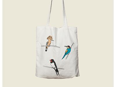 BIRDS Totebag. beercat illustration craftbeer cat illustrator abstract vilafranca penedes colors graphicdesign