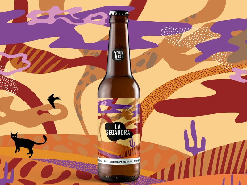 La Segadora - BeerCat CraftBeer bottle freelance degree colors graphicdesign packaging lovecats cat wheat segadora craftbeer beercat