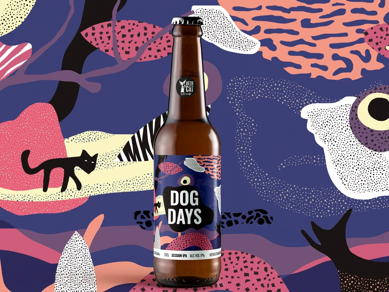 Dog Days - BeerCat CraftBeer 3d beer bottle abstract graphic arts graphic vilafrancadelpenedes penedes vilafranca angelspinyol motiongraphics craft beer label cats dogdays packagingdesign graphicdesign beercat craftbeer