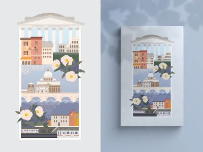 Rome Postcard apartments colosseum white poppies poppies metro cool colors flowers illustrator illustration postcard weekly warmup weeklywarmup rome