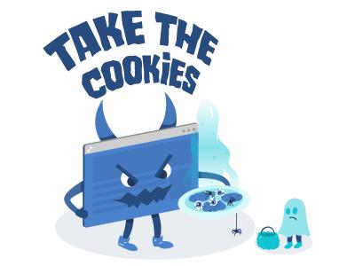 Cookies are Spooky halloween compliance eugdpr browser spider ghost gdpr teal vector monster clym cookies cookie