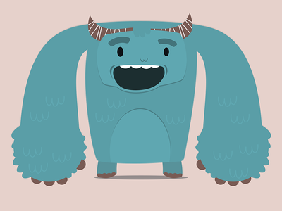 Blue Monkey monster monkey horns smille tooth blue illustration