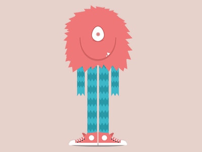 The Tall Pink monster fur smille tooth pink all star converse shoe illustration