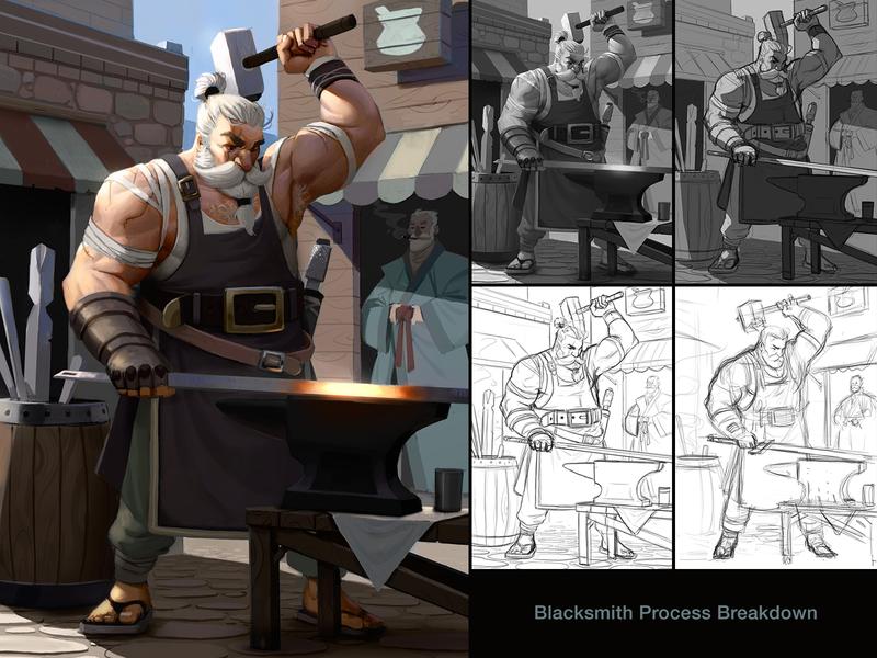 Blacksmith Process - Now with color! fantasy digital painting digitalpainting illustration characterdesign