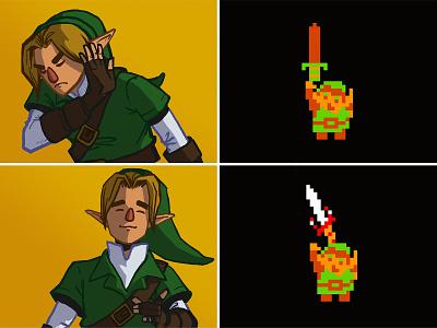 Link/Drake Meme illustration meme legend of zelda zelda link