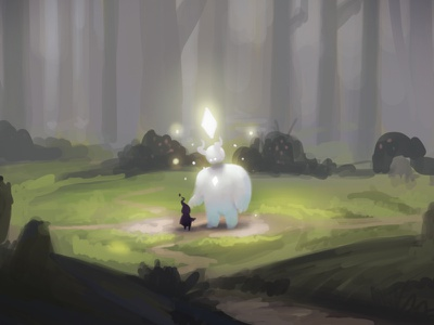 Magic in the forest digital painting character design concept art illustration