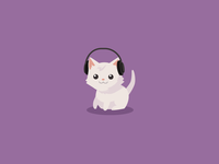 Kitten with headphones - Skullcandy
