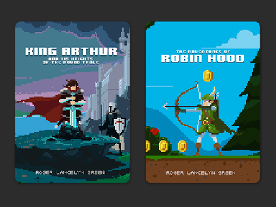 Puffin Pixels covers - King Arthur and Robin Hood pixel art book cover puffin pixels pixel book