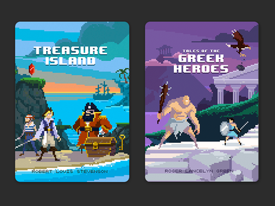 Puffin Pixels covers - Treasure Island and Greek Heroes pixel art book cover puffin pixels pixel book greek heroes treasure island